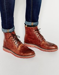 Asos Derby Boots In Tan Leather With Cleated Sole Tan