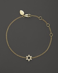 Meira T 14K Yellow Gold Star Of David Bracelet With Diamonds .13 Ct. T.W.