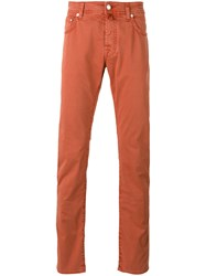 Jacob Cohen Straight Cut Chinos Yellow Orange