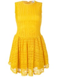 Red Valentino Lace Flared Dress Yellow Orange