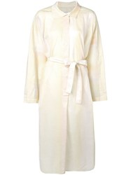 Christophe Lemaire Belted Shirt Dress White