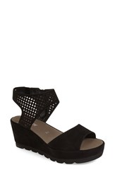 Women's Gabor Grid Perforated Platform Sandal Black Nubuck Leather