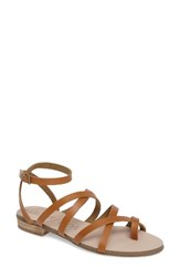 Sole Society Women's Koko Flat Sandal Cognac Leather