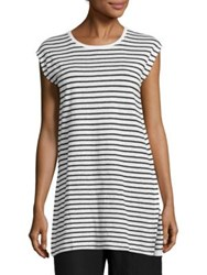 Eileen Fisher Striped Cap Sleeve Organic Linen Tunic White Black
