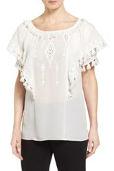 Kobi Halperin 'Kerry' Embroidered Silk Peasant Blouse White