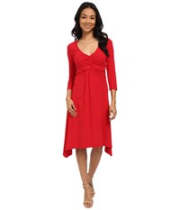 Mod O Doc Cotton Modal Spandex Jersey Braided Trim Empire Seamed V Neck Dress Ruby Women's Dress Red