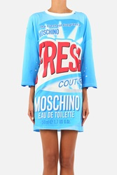 Moschino Printed Cotton Short Sleeve Dress Light Blue