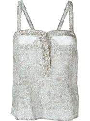 Etro Button Down Semi Sheer Tank Top Grey