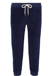 The Great Cropped Cotton Blend Velour Track Pants Navy