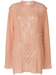 Red Valentino Multi Knit Longline Sweater Pink And Purple