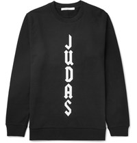 Givenchy Cuban Fit Appliqued Fleece Back Cotton Jersey Sweatshirt Black
