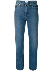Calvin Klein Jeans Fitted Straight Leg Women Cotton 30 Blue