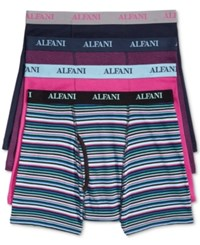 Alfani Men's 4 Pack. Cotton Boxer Briefs Only At Macy's Navy Berry Stripe Assorted
