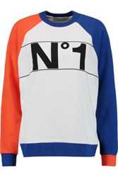 Etre Cecile Color Block Printed Cotton Sweatshirt White