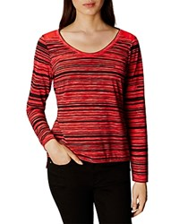 Karen Millen Striped Step Hem Tee Red Multi