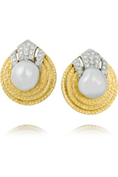 David Webb 18 Karat Gold Diamond And Pearl Clip Earrings