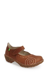 El Naturalista 'Yggdrasil' Leather Mary Jane Flat Women Wood