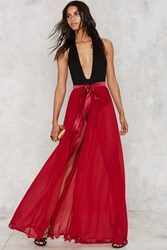 Nasty Gal Jump Maxi Sheer Skirt Red