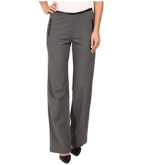 Hue Leatherette Trim Luxe Ponte Pants Graphite Heather Women's Casual Pants Gray