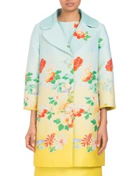 Andrew Gn Three Button Degrade Floral Jacquard Coat Blue Yellow