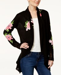 Inc International Concepts Embroidered Open Front Cardigan Only At Macy's Deep Black