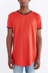 Feathers Long Loose Ringer Scoop Neck Tee Red