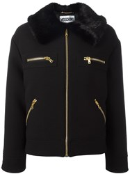Moschino Faux Fur Collar Jacket Black