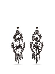 Gucci Bead Embellished Clip On Earrings Black