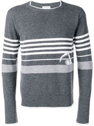 Thom Browne Swimmer Intarsia Cashmere Pullover Grey