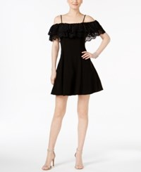 Betsy And Adam Lace Trim Off The Shoulder Dress Black