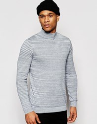 Asos Turtleneck Jumper In Blue Cotton Navy