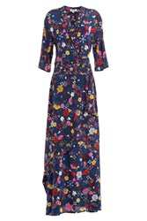 Kenzo Floor Length Printed Silk Maxi Dress Multicolor
