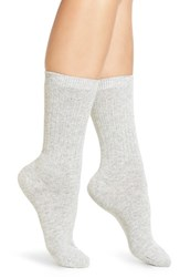 Calvin Klein Women's Lux Ribbed Crew Socks Pale Grey Heather