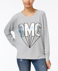 Rampage Juniors' Omg Metallic Oversized Graphic Sweatshirt Light Heather Grey