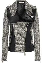 Bouchra Jarrar Wool Blend Tweed And Faux Patent Leather Jacket