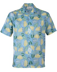 Double Two Men's Tropical Print Short Sleeve Casual Shirt Blue