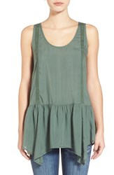 Junior Women's Sun And Shadow Drop Waist Ruffle Tank Green Duck