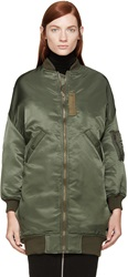 R 13 Olive Green Oversize Flight Coat