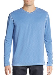 Saks Fifth Avenue Knit V Neck Top Blue