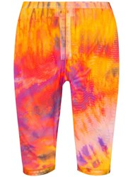Msgm Tie Dye Print Knee Length Cycling Shorts Orange