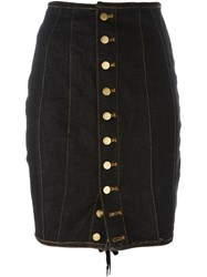 Jean Paul Gaultier Vintage Junior Laced Pencil Skirt Blue