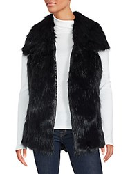 Candc California Faux Fur Long Hemmed Vest Black