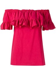 Hache Ruffled Blouse Pink Purple