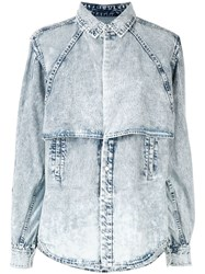 Toga Pulla Tiered Denim Shirt Blue
