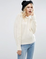 Asos Jumper With Exaggerated Sleeve Cream