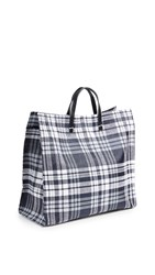 Clare V. Simple Tote Bag Plaid Navy
