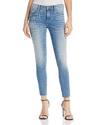 Aqua Embellished Raw Edge Skinny Jeans In Light Wash 100 Exclusive