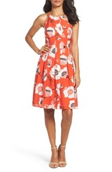 Adrianna Papell Women's Fit And Flare Dress Red Multi