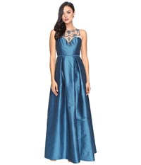 Adrianna Papell Casablanca Halter Beaded Bodice Ball Gown With Front Slit Teal Crush Women's Dress Blue