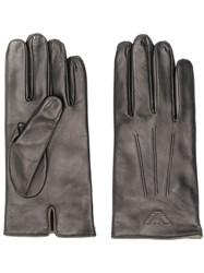 Emporio Armani Logo Embossed Gloves Brown
